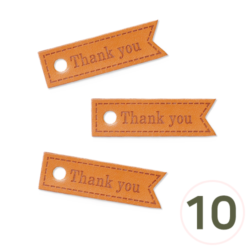 가죽태그 NO.16*Thank you*50x15mm(10개입) U-02-222