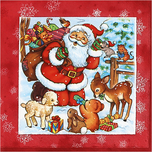 0734 수입냅킨 33*33cm Santa & Animals Red
