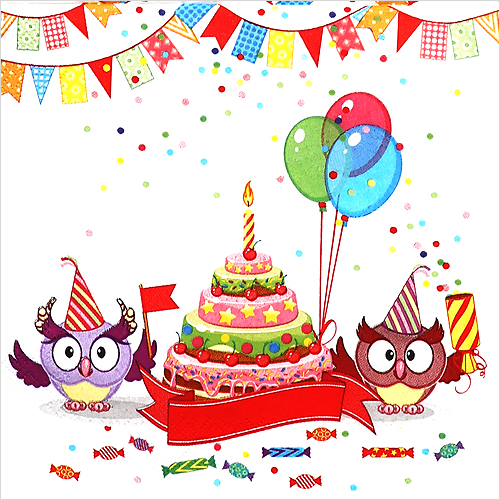 냅킨아트 026901 Funny Owls with B-day Cake 냅킨20매 33x33cm 0758