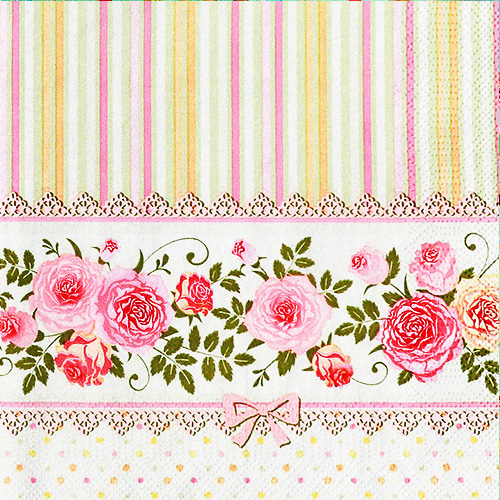 냅킨아트 SLOG032101 English Roses and Stripes 냅킨20매 33x33cm 2062